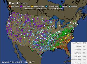 Temperatur rapport Nordamerika 6 - 13 december 2013